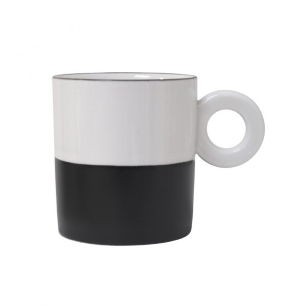 HK LIVING PORCELAIN MUG BLACK/WHITE