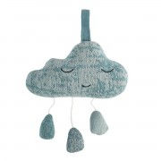SEBRA KNITTED MUSICAL PULL TOY BLUE CLOUD