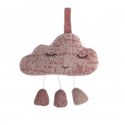 SEBRA KNITTED MUSICAL PULL TOY PINK CLOUD
