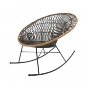 HK LIVING RATTAN ROCKING LOUNGE CHIAR