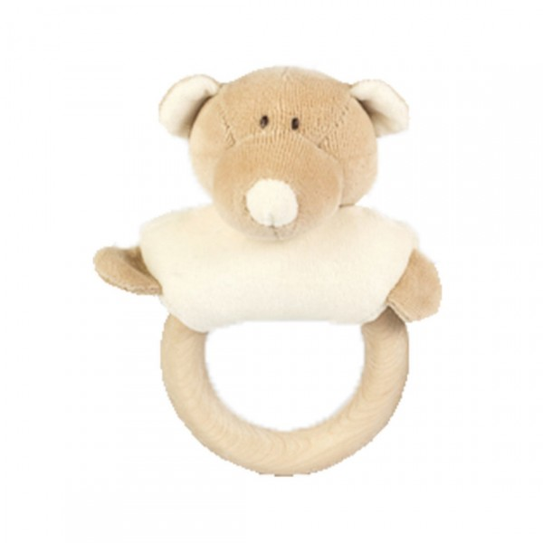 WOOLY ORGANIC RATTLE WOODEN TEETHER TEDDY BEAR