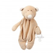 WOOLY ORGANIC COMFORTER WITH DUMMY HOLDER TEDDY BEAR
