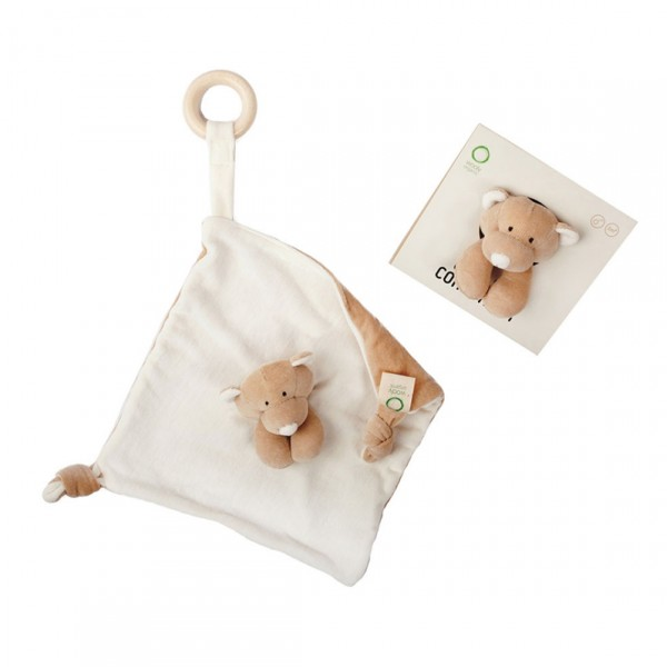 WOOLY ORGANIC COMFORTER WITH WOODEN TEETHER TEDDY BEAR