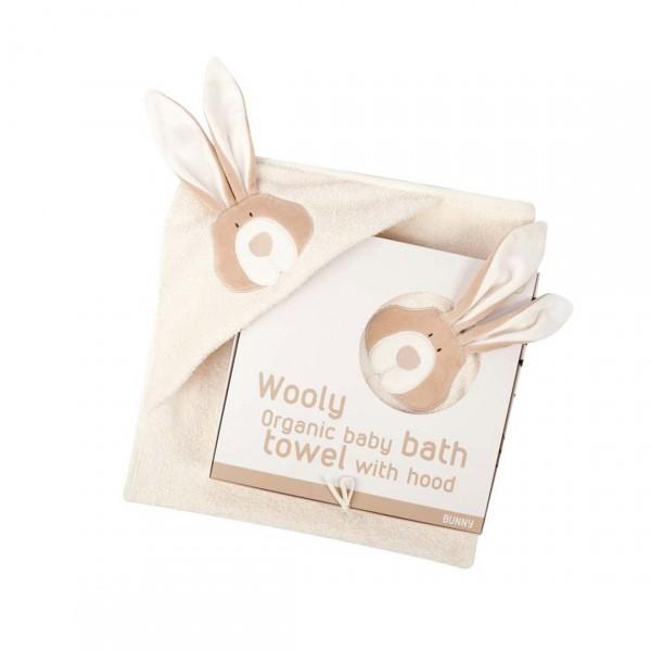 WOOLY ORGANIC BABY BATH TOWEL WITH HOOD BUNNY