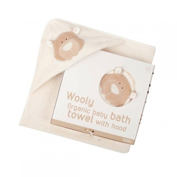 WOOLY ORGANIC BABY BATH TOWEL WITH HOOD TEDDY BEAR