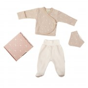 WOOLY ORGANIC SET OF JACKET PANTS AND A BIB BEIGE-WHITE