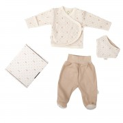 WOOLY ORGANIC SET OF JACKET PANTS AND A BIB WHITE-BEIGE