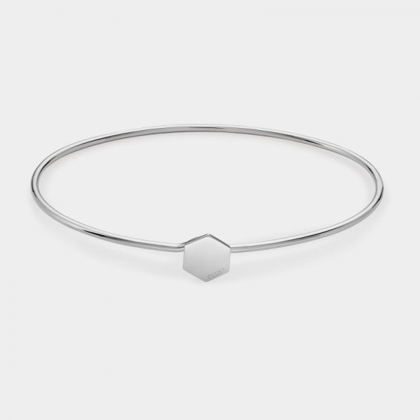 CLUSE ESSENTIELLE SILVER HEXAGON BANGLE BRACELET
