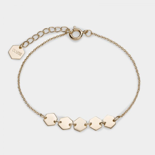 CLUSE ESSENTIELLE SILVER HEXAGONS CHAIN BRACELET