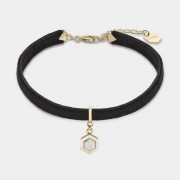 CLUSE AMOURETTE GOLD BLACK VELVET AND MARBLE PENDANT BRACELET