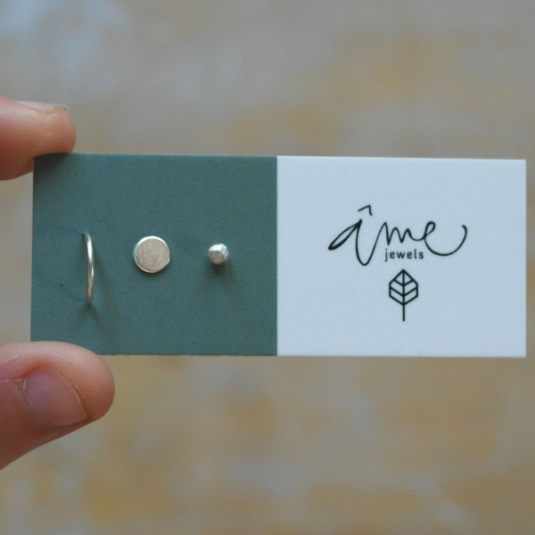 AMEJEWELS SILVER BAR STAR AND DOT EARRINGS 925