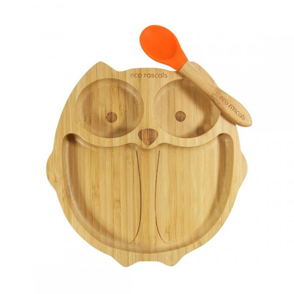 ECO RASCALS OWL BAMBOO DINNERWARE FOR KIDS WITH SPOON