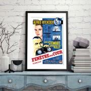 BLUE SHAKER POSTER STILE VINTAGE FENETRE SUR COUR
