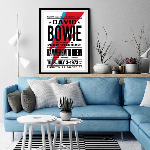 BLUE SHAKER VINTAGE PRINTS DAVID BOWIE WORLD TOUR