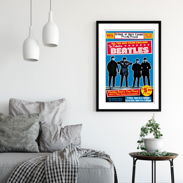 BLUE SHAKER POSTER STILE VINTAGE THE FABULOUS BEATLES