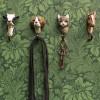 WILDLIFE GARDEN HAND CARVED HOOK BROWN DOG