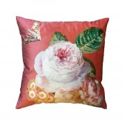 VANILLA FLY VELVET CUSHION CORAL ROSE