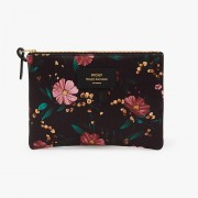 WOUF BLACK FLOWERS LARGE POUCH