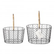 PUEBCO RATTAN HANDLE WIRE BASKET SET