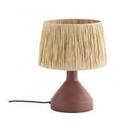 MADAM STOLTZ IRON TABLE LAMP W/ RAFFIA SHADE BRICK