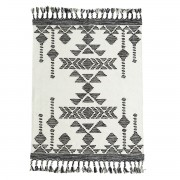MADAM STOLTZ HANDWOVEN COTTON RUG B/W 120x180